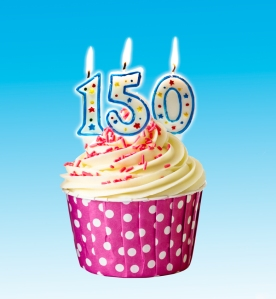 Cupcake with candles that denote 150 years.