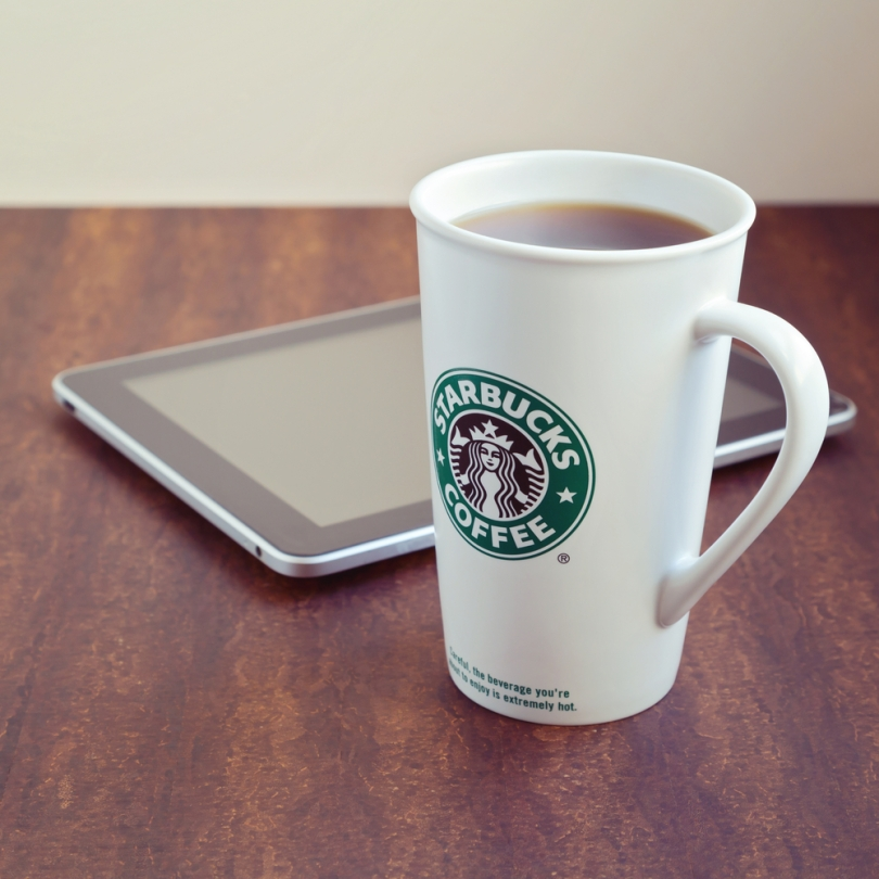 apple iPad and Starbucks coffee