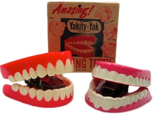 Vintage Yakity-Yak teeth provided by collectors Mardi and Stan Timm. Read the full story at http://www.collectorsweekly.com/articles/yakity-yak-60-years-of-teeth-that-talk-back/ Learn more about the Timms and their collection at TimmStuff.com.
