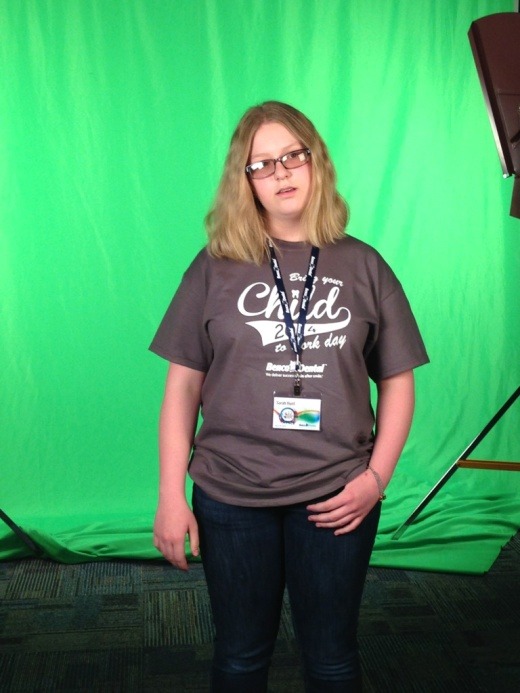 Sarah Hunt participates in a video shoot as part of Bring Your Children To Work Day at Benco Dental.