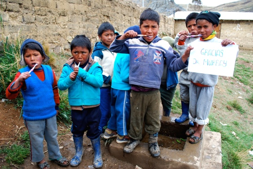 Children in the Andes Mountain communities assisted by Desea Peru thank Dr. Frank Murray of St. Cloud, Florida, who donated  toothbrushes and toothpaste for more than 250 children to the International Life Foundation.  (Courtesy Robert Dent)