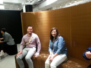 CenterPoint Designers Megan Chuzas and Greg Marinelli test out the Molo product during Chicago's NeoCon earlier this month.