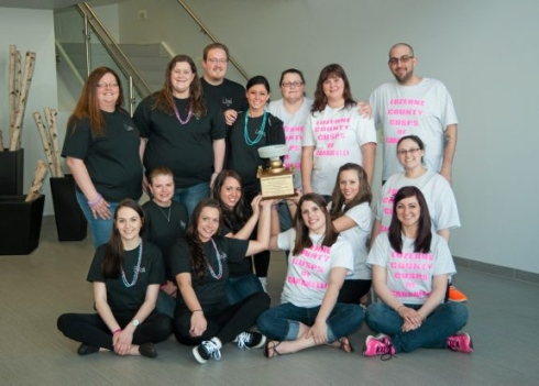 Luzerne County Community College dental hygiene students in Pennsylvania recently took first place at the first annual Benco Board Bowl, according to citizensvoice.com. Shown, first row, from left, are Erica Beaver, Berwick; Stephanie Kimble, Charleston, Va.; Kaitlyn Raup, Danville, and Marcy Bronsburg, Wilkes-Barre. Second row: Holly Dottle, Carbondale; Ariel Allen, Kingston; Renae Novitski, Kingston, and Stephanie Rodzinak, Plains. Third row: Lisa Robins, Plymouth; Amy Gulla, West Pittston; Lauren Castelli, Archbald, and Ashley Bieber, Berwick. Fourth row, Lloyd Mordan, Muncy Valley; Jennifer Jones, Bloomsburg; and Jarrod Swingle, Simpson.