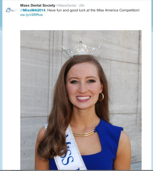 Mass Dental Society ‏@MassDental offers a nod to Harvard Dental student Lauren Kuhn, who will represent Massachusetts tonight in the Miss America Pageant.