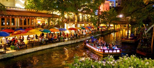 San Antonio, Texas, is the seventh-largest city in the U.S., yet it retains its low-key reputation as a safe, friendly, walkable city rich in the arts, dining, nightlife, historic architecture and shopping. Shown is the Riverwalk, a public park open 365 days a year, lined with individual businesses composed of restaurants, hotels, attractions and more.