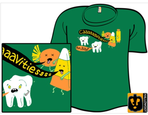 Share the Halloween candy cavity nightmare every day with this colorful creation: http://shirt.woot.com/offers/dental-damned