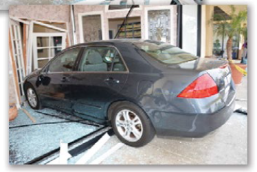 In one of four catastrophes to batter their dental practice, a poor parking job destroyed the entrance to Mission Family Dentistry in Oceanside, California. No patients were present and no one was hurt.
