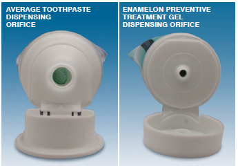 An interesting addition to Enamelon, above right, is the use of a small dispensing opening to help reduce waste and provide controlled dispensing.