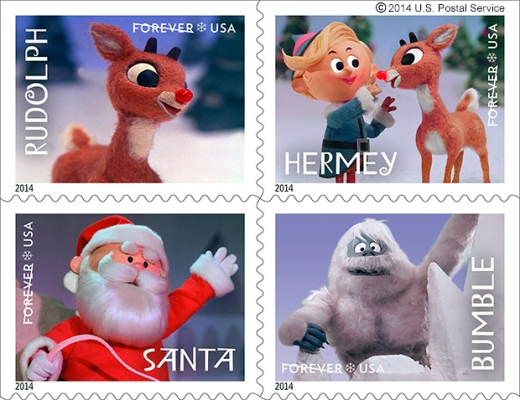 "Four characters from the television special ""Rudolph the Red-Nosed Reindeer"" are being featured on U.S. Postal Service stamps for the 2014 holiday season. Photo Courtesy U.S. POSTAL SERVICE http://www.cbsnews.com/news/rudolph-reindeer-stamps-sunday-mail-delivery-announced-for-holidays/"