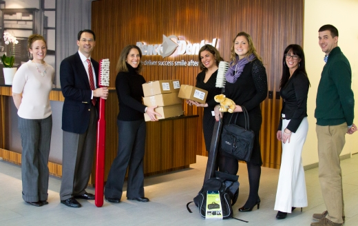 Co-founder of Brandon's Forever Home Lorine Angelo Ogurkis, Esq., fourth from left, accepts a donation of dental kits from Benco Family Foundation Executive Director Rebecca Binder, third from left, January 7 at the Benco Dental home office in Pittston, Pennsylvania. Shown, from left: Meredith Wall, Benco Dental Executive Administrative Assistant/Benco Family Foundation; Chuck Cohen, Benco Dental Managing Partner; Rebecca Binder, Benco Family Foundation Executive Director; Lorine Angelo Ogurkis, Esq., Brandon's Forever Home Co-founder; PA State Rep. Tarah Toohil, Brandon's Forever Home Co-founder; Rachel Pugh, Benco Dental Manager of Marketing Communications and Tim Scharle, Benco Dental Private Label Product Manager.