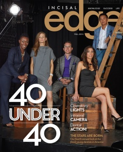 Published by Benco Dental, Incisal Edge, the leading lifestyle magazine for dental professionals nationwide celebrates dentists' achievements both inside the operatory and during their hard-earned downtime.  On the cover of 2014's 40 Under 40 edition are Drs. Nelly Silva, Elizabeth Jones, Todd Fleischman, Nathalie Zenian McOmber and Anthony Le. (Photography Jeff Fried/Style Director Joseph DeAcetis)