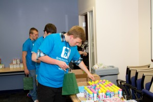 Benco Dental celebrated Bring Your Child to Work Day, April 23, as part of a nationally-recognized event. Children between the ages of 13 and 18 were invited to spend the day. Joe Steve (shown), son of Benco Dental associate Lori Wallace was among attendees who helped assemble dental care packages for donation to the Luzerne County Children's Advocacy Center.  (Photo/Eric Larsen, Benco Dental)