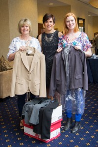Carla Rawheiser, R.D.H. (left) and her daughter Becca, 21, (right) a student at the University of Delaware presented clothing donations for Dress For Success to Julie Radzyminski, Benco Dental's director of business innovation and the coordinator of the Lucy Hobbs Project.
