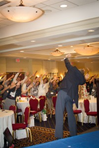 Continuing-education presenter and motivational speaker Dave Weber brought the crowd to their feet on more than one occasion with his energy.