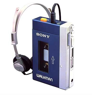 with ears his over a Teen walkman