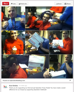 Featured on mykoolsmilesblog.com and shared on Pinterest was a thank you with photos of troops receiving candy from the Operation Gratitude effort.