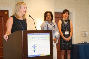 Dr. Lindsay Limbaugh accepts her 2015 Lucy Hobbs Project award during this year's Celebration hosted in Baltimore.