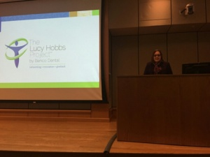 Immediate Past President of the American Dental Association Dr. Maxine Feinberg addresses attendees at The Lucy Hobbs Project event Friday in Abington, Pennsylvania.