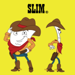 Slim® is a porcelain veneer, and he loves country music... he's a real cowboy, roping and riding his MolarMavericks down at the MO.K Corral. (Courtesy MightyMolarMan.com)