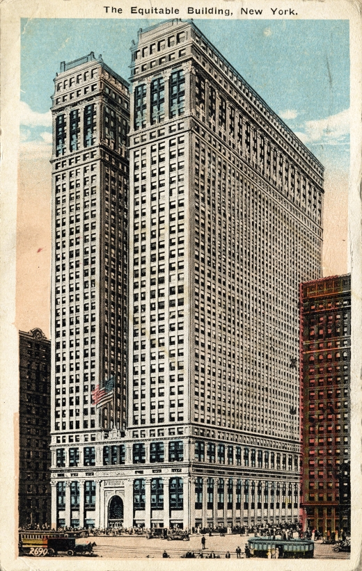 NEW YORK CITY – CIRCA 1915: Vintage postcard depicting the Equitable Building in Manhattan, a neoclassical building designed by Ernest R. Graham in 1915, New York City, USA, circa 1915.
