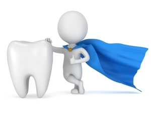 Brave superhero dentist with big white tooth